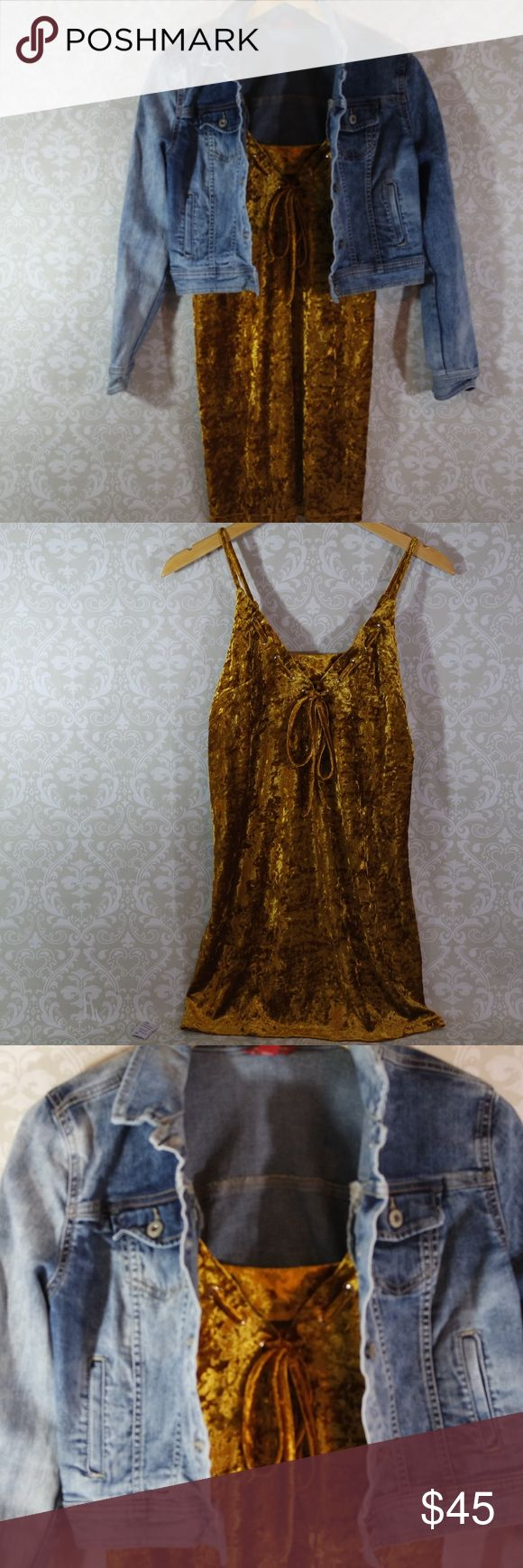 Trendy Gold Velour Spaghetti Strap Dress Sz S & M Gorgeous gold or mustard color spaghetti strap velour dress.  Adjustable straps and tie front.  Perfect for a night out on the town.  Velour fabric has a quality feel.  Terrific with a denim jacket and boots or heels.  True to size.  Stand out for all the right reasons. April Spirit Dresses Mini