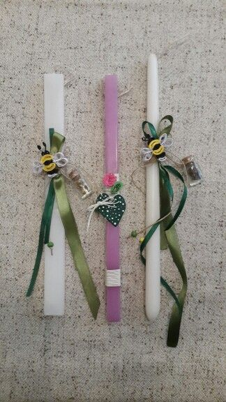"Handmade easter candles by Glykeria. ""Bees"" / ""Heart"""