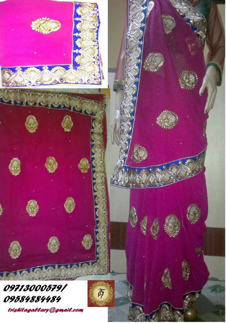 Heavy Party Wear Saree with patch work,zari,border work rasham & tread work.