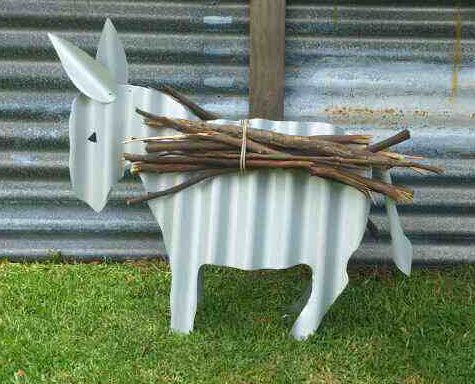 DONKEY Ass Mule Rustic Recycled Corrugated Iron Metal Garden Art Sculpture: