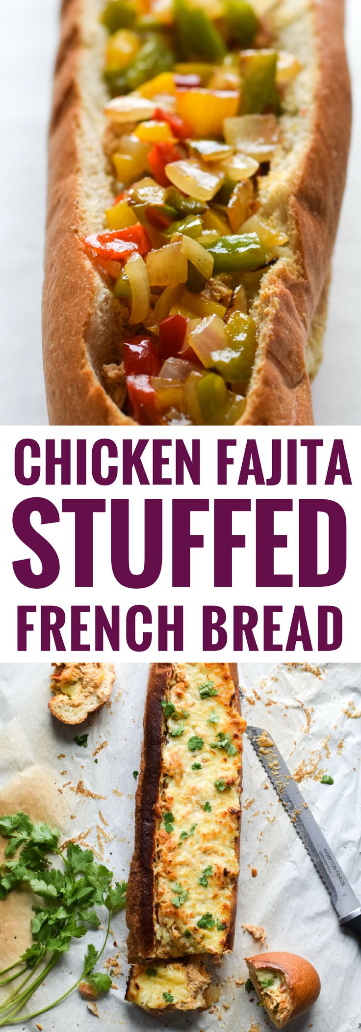 A crowd favorite, this Chicken Fajita Stuffed French Bread is a creamy, cheesy, and super flavorful appetizer that's perfect for parties and game day! via @isabeleats