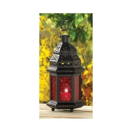 Lantern Candle Holder Exotic Moroccan Red Glass Metal Outdoor Patio Home Decor #GiftsDecor