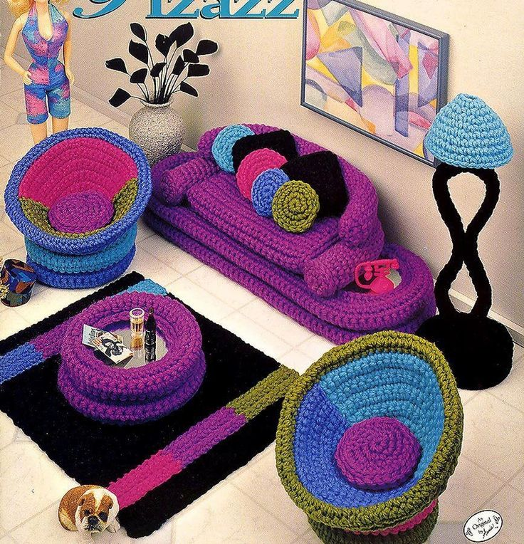Fashion Doll Home Decor, Crochet, Parlor Pizazz, Livingroom Decor, Annies Attic…
