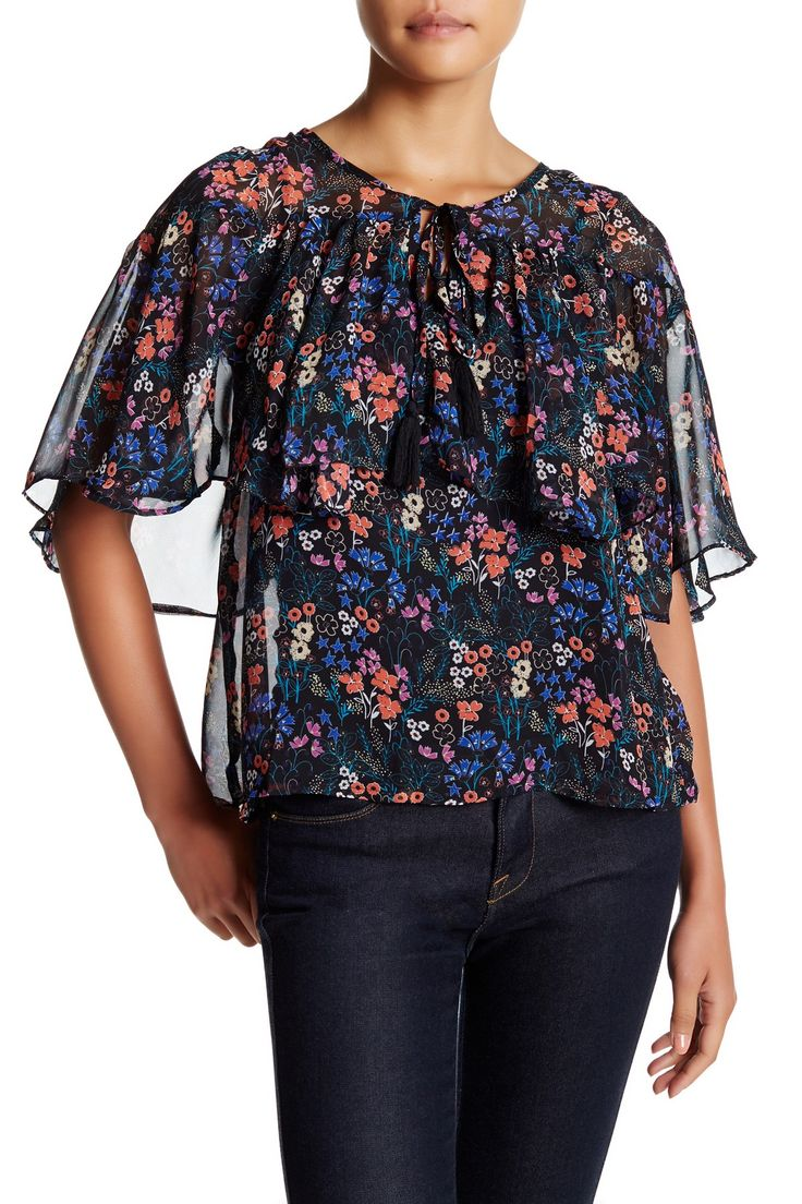 Chiffon Ruffle Print Blouse by Flying Tomato on @nordstrom_rack