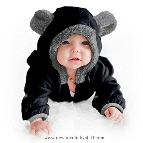 Baby Girl Clothes Funzies Baby Bunting Fleece Hooded Romper Bodysuit (6-12 Month, Black)