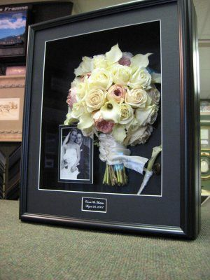 Freeze Dried Wedding Bouquet is framed in shadow box with wedding picture - MUCH better than throwing it out!
