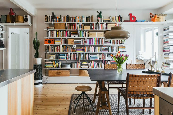Living space with bookshelves