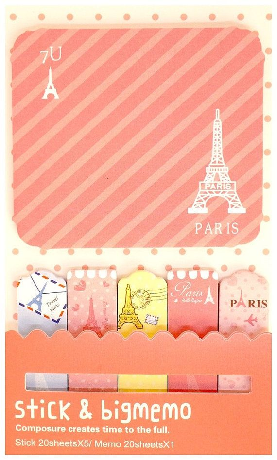 Kawaii PARIS pink travel cute bookmark STICKY by MyChildhoodDream