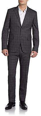 $1,250, Valentino Slim Fit Shadow Plaid Two Button Wool Suit. Sold by Off 5th. Click for more info: https://lookastic.com/men/shop_items/60199/redirect