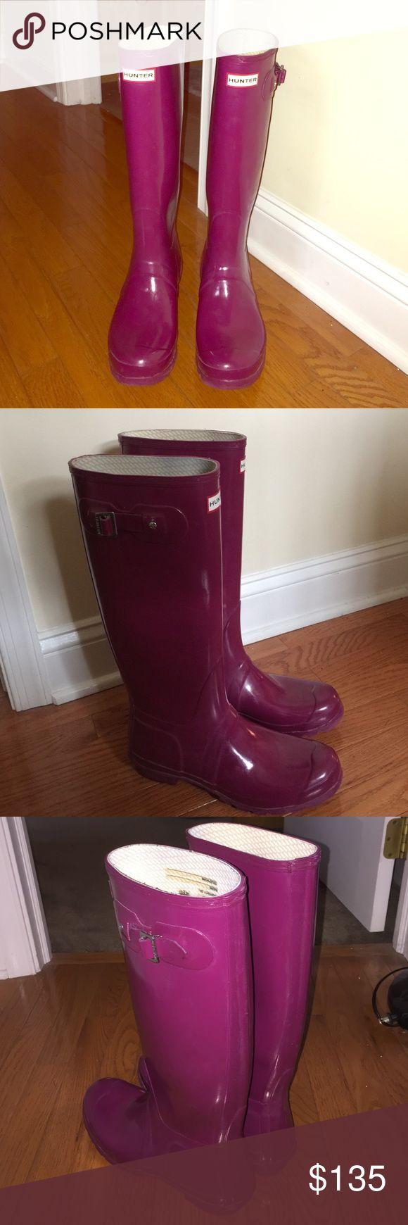 Tall Hunter Rain Boots - Rare Magenta Barely worn. RARE magenta color. Hunter Boots Shoes Winter & Rain Boots