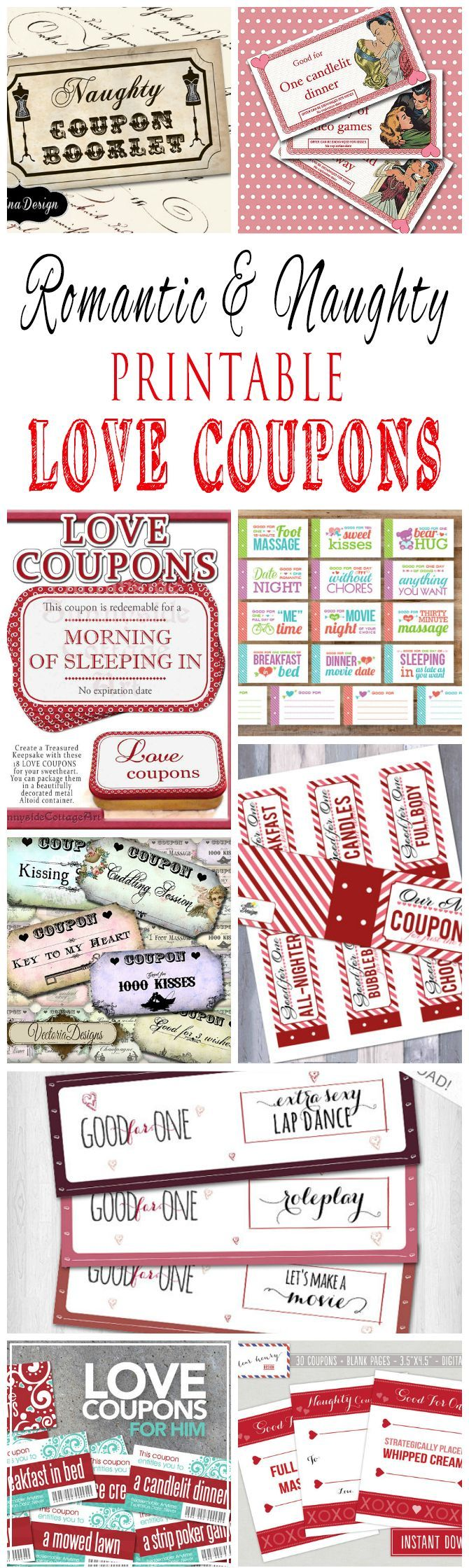 Romantic And Naughty Printable Love Coupons For Boyfriend Or Husband                                                                                                                                                                                 More