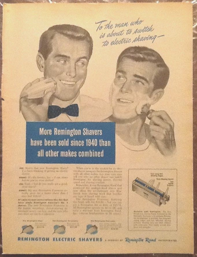 Remington Razors 1947 Original Vintage Ad Art 1940s Illustration Men Shaving | eBay