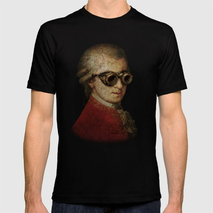Funny Steampunk Mozart T-shirt by Paul Stickland For Strange Store on society6