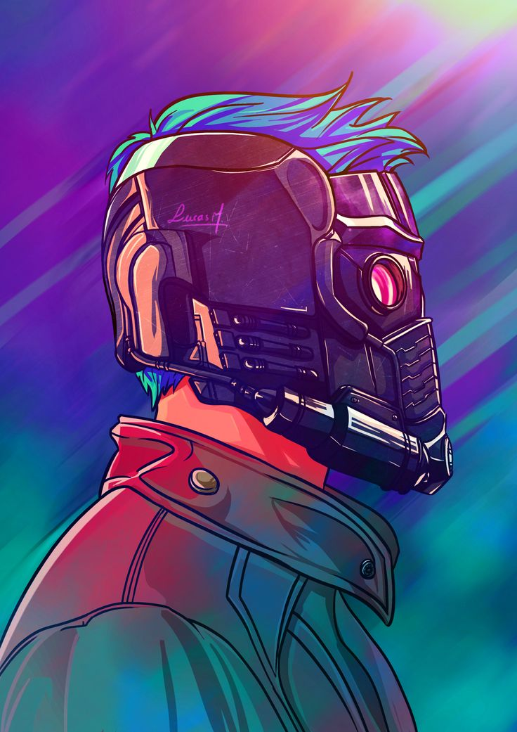 Illustration of Starlord and his AMAZING mask.  Ilustração do Starlord e sua máscara INCRÍVEL.