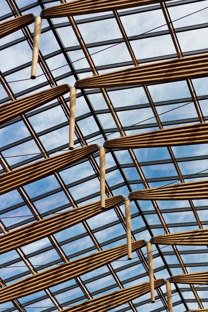 The Atrium by D'Ambrosio Architecture & Urbanism in Victoria, BC, Canada. innovative wood trusses support a 7,200 square-foot skylight