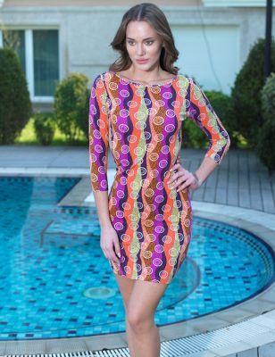 Mel Bee - Mel Bee Kayık Yaka 3/4 Kol Su Desenli Elbise