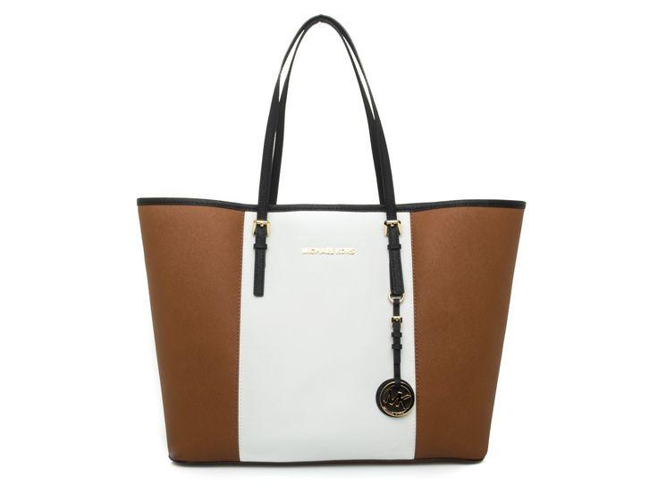 Michael Kors Medium Leather Satchel Jet Set Ping Bag In Saffiano Light Brown White