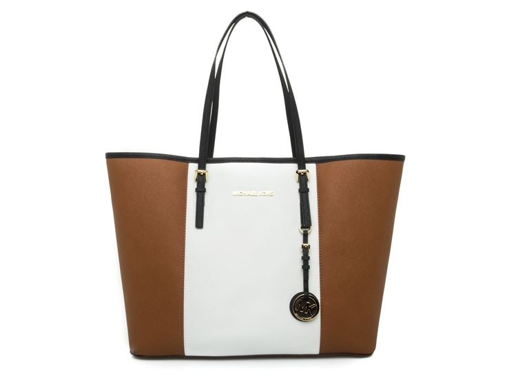 MICHAEL KORS - JET SET shopping bag in saffiano leather - Light brown/white - Elsa-boutique.it