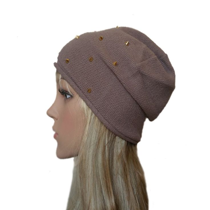 Knitted Women's Beanie Hat - Studded Slouchy Knit Cap