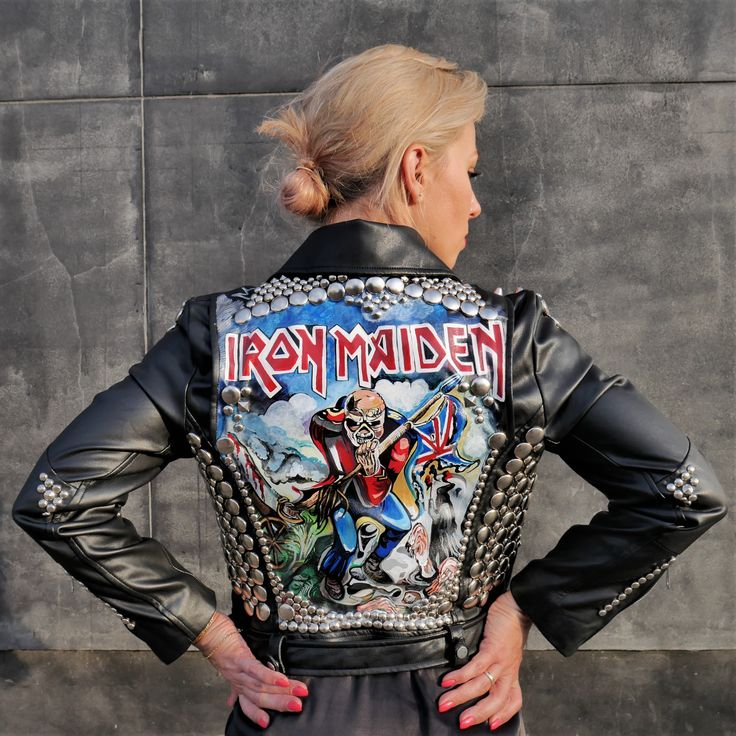 Iron Maiden Jacket, Hand-Painted Jacket , Hand-crafted, Custom Made Biker Jacket, Custom Leather Jacket