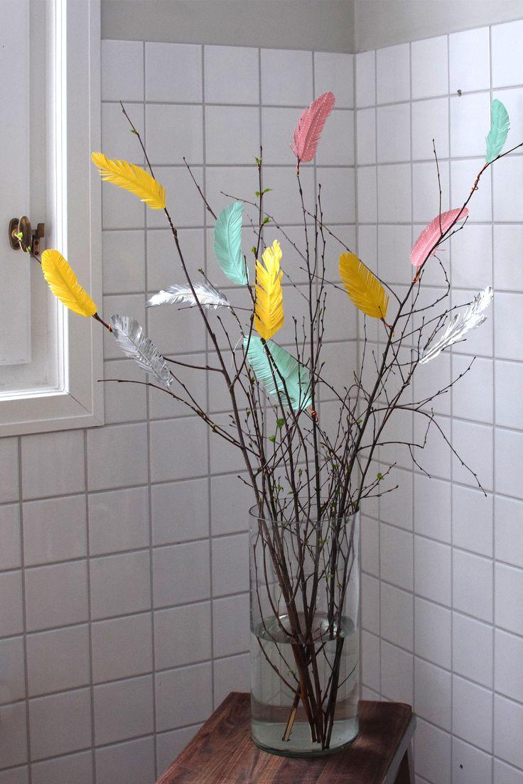 Massa tips på alternativa fjädrar till påsk - pappersfjädrar, tygfjädrar, tyllfjädrar & garnfjädrar - Påskpyssel, påskris, easter, easter tree , swedish easter tree, @Helena Lyth.se