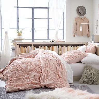 $99 light pink & light grey for dorm bedding  Whimsical Waves Comforter + Sham #pbteen
