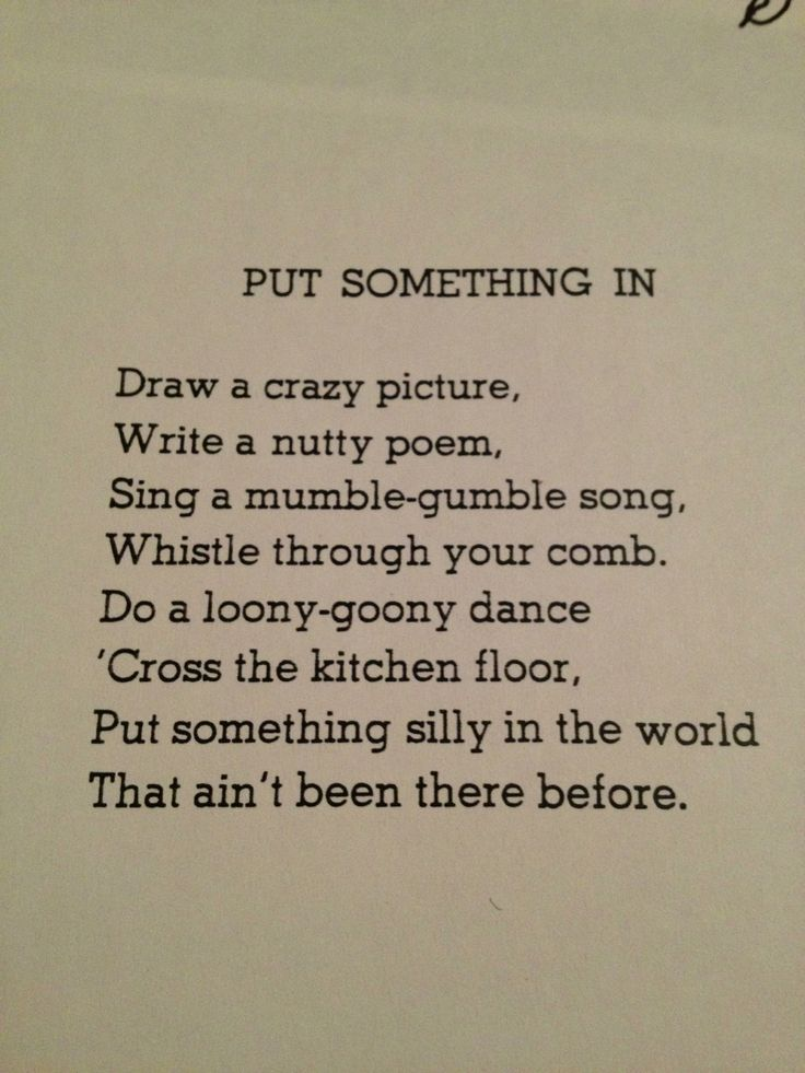 Put Something In by Shel Silverstein