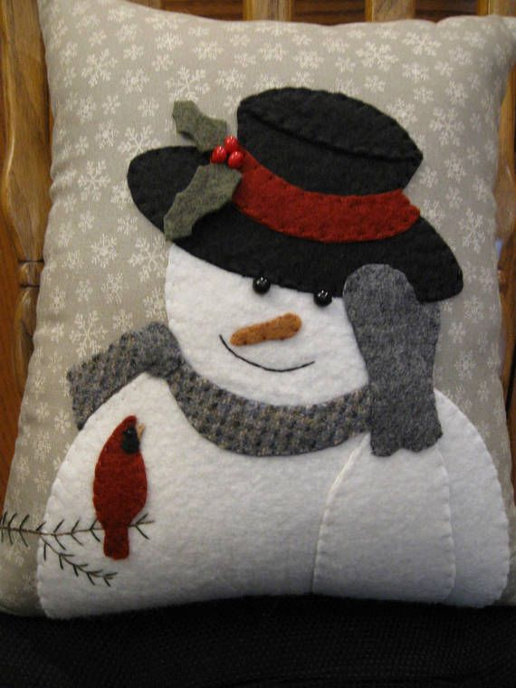 Winter Greeting.....Snowman and Cardinal Wool Applique Pillow