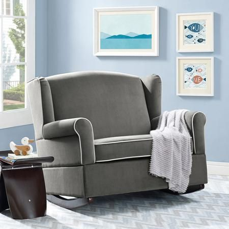 $280 Walmart Free Shipping Baby Relax Lainey Wingback Chair and a Half Rocker