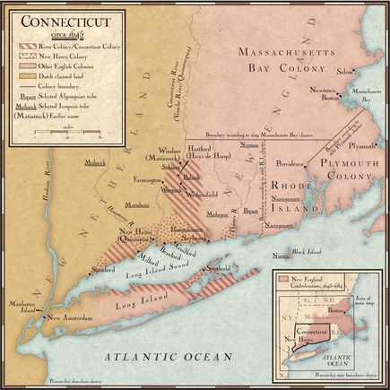 Colonies in Connecticut in the 1640s: Ignoring Dutch claims to the land, English Puritans from Plymouth and Massachusetts Bay settled along the Connecticut River and Long Island Sound on lands they purchased from Native American peoples. By 1645, the settlements of Windsor, Wethersfield, and Hartford had united to form River Colony, which became known as Connecticut.
