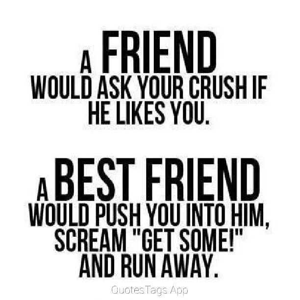 A Friend Would Tell Your Crush That You Like Them A Best Friend Quote Google Search Best Friend Quotes Friends Quotes Funny Quotes