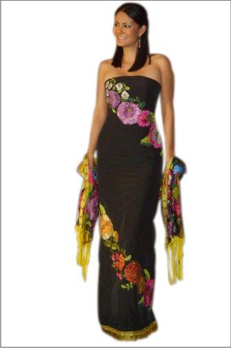 vestidos mexicanos negros estampados                                                                                                                                                                                 Más