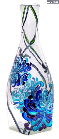 Витражная роспись. Бутылка «Хризантемы».   Hand painted stained glass.