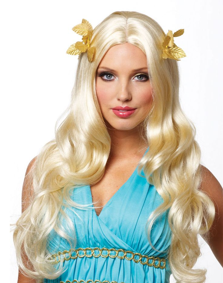 blonde roman greek goddess with wreath womens halloween costume wig - Halloween Costumes With Blonde Wig