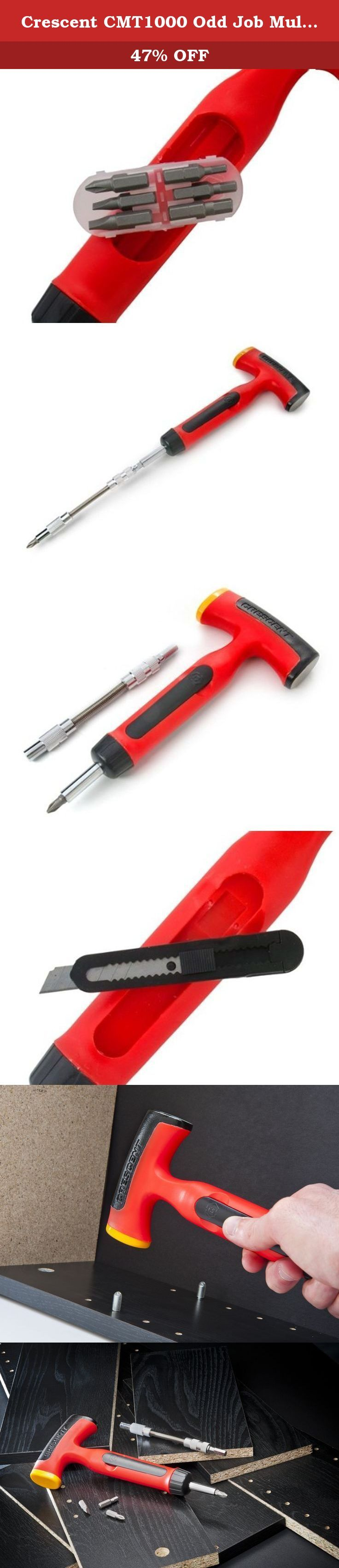 Crescent CMT1000 Odd Job Multi-Tool, Red/Black. The Crescent Odd Job is the official tool of 1,000 little things. Sized right for kitchen drawer, college dorm, condos and apartment, boats and cars. 11 Tools in One. The one tool for assembling, fixing and hanging in every room of the house. 6 Screwdriver bits included are Phillips, Slotted and Hex bits.
