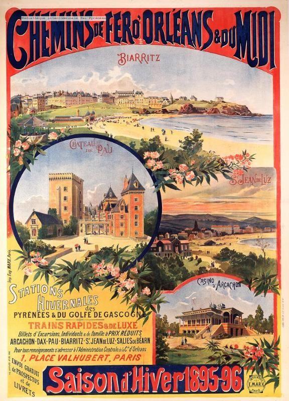Chemins de fer d'Orléans et du Midi. Saison d'hiver 1895-96 : stations hivernales des Pyrénées et du Golfe de Gascogne - France -
