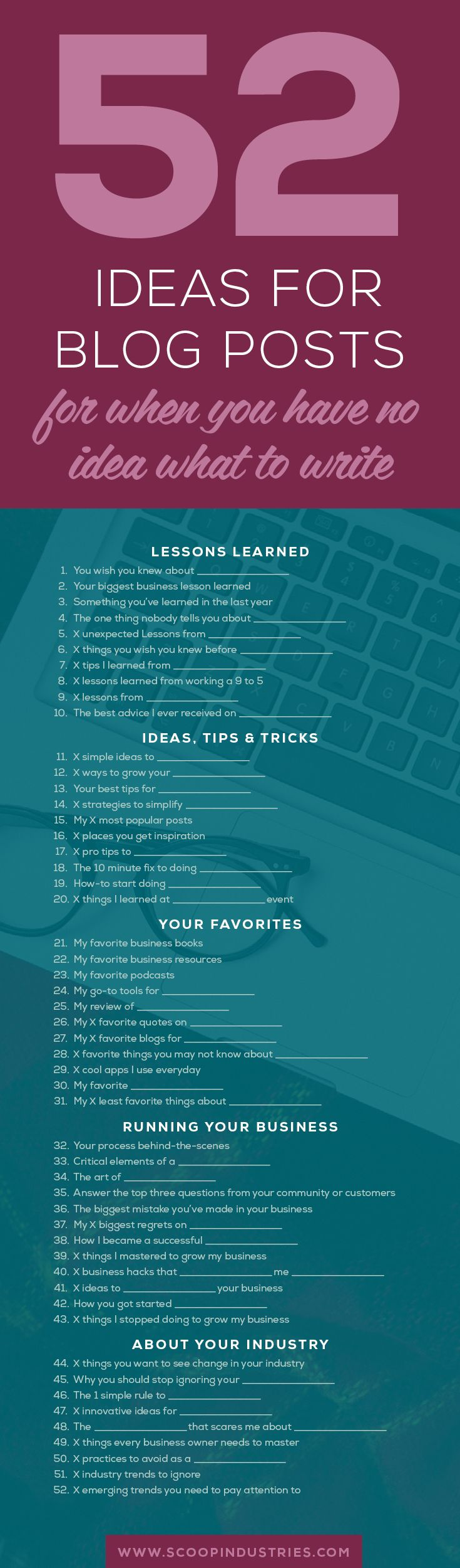 Do you struggle to come up with blog post ideas? Never get stuck again with your blogging! *PIN* this list of 52 powerful blog post ideas and always have blog topics at your fingertips.