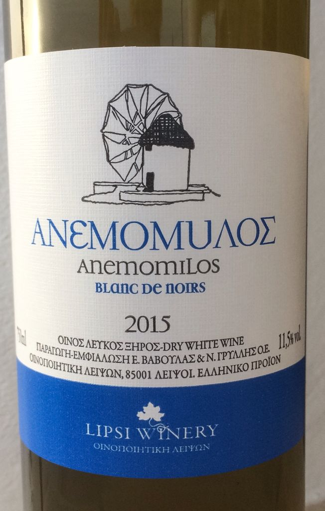 Anemomilos - Blanc de Noirs  Dry white wine from Fokiano grapes.