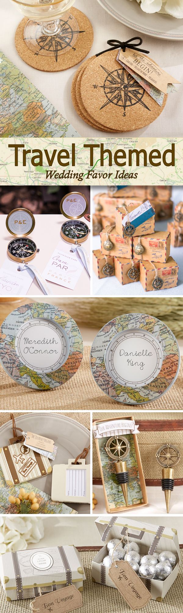 Having a wanderlust or travel inspired wedding?  Check out these 50 Fun Travel Themed Wedding Favor Ideas