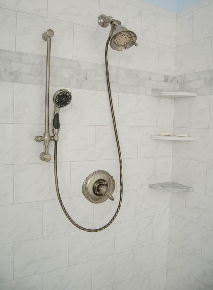 Bathroom Shower Hardware : Updated Bathroom - Curtsey of Re-Bath of the Triangle - Delta Faucets ...