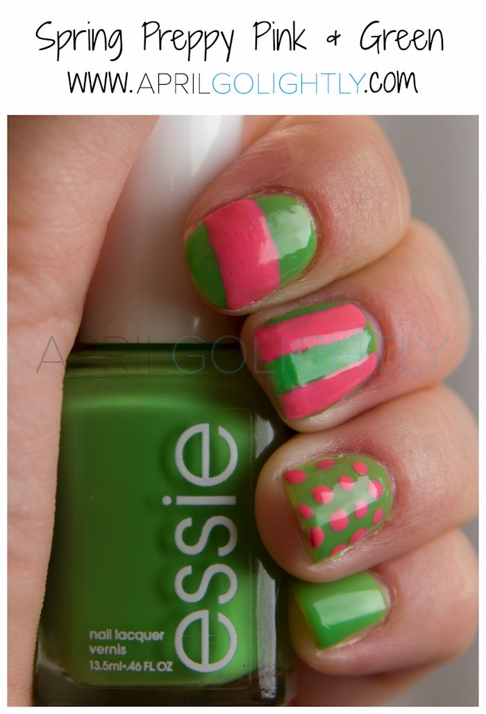 Spring Preppy Pink and Green Nails with Essie Vices Versa and Revlon Bubbly #shop #walgreensbeauty polka dots, stripes by aprilgolightly.com