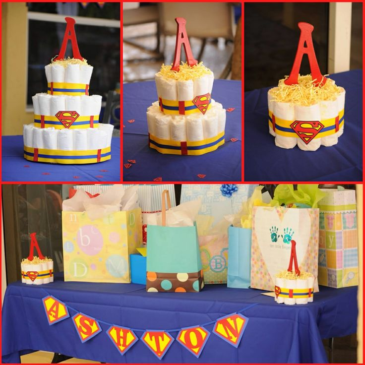 Superman Baby Shower/ Diapercake Centerpieces