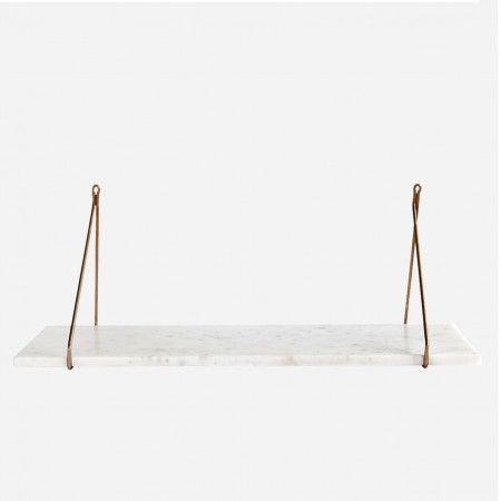 White Marble Shelf with Brass Bracket - Shelving - Wall & Floors - Home Accessories