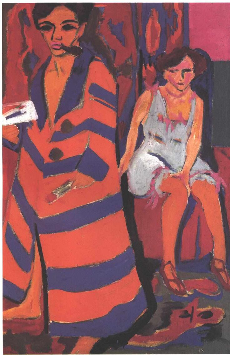 Self-Portrait with a Model - Ernst Ludwig Kirchner