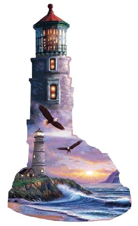 """A View of the Sea Lighthouse Shaped Jigsaw Puzzle    It's all about shapes! SunsOut Special Shaped Puzzles will provide a challenge for one and all. Perfect for collectors to mat and frame.    Art by Steve Sundram    Size: 24"""" x 38""""    Made in the USA, by SunsOut.    Eco-Friendly, Soy Based Inks & Recycled Board.    Consumer Product Safety Notice:  WARNING: CHOKING HAZARD  Small parts Not for children under 3 years SO95316  Regular price: $20.00  Sale price: $18.00"""