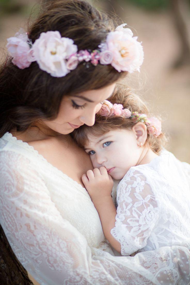 Baby and mom. Boho style family. Boho mom and baby.