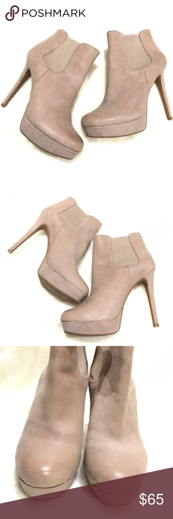 """Gianni Bini Nikka Booties Nude distressed leather platform booties with round toe and leather covered stiletto heel. 4.7"""" covered platform and heel. Elastic inserts on each side for easy pull. In excellent condition with no visible scratches or marks. Gianni Bini Shoes Ankle Boots & Booties"""