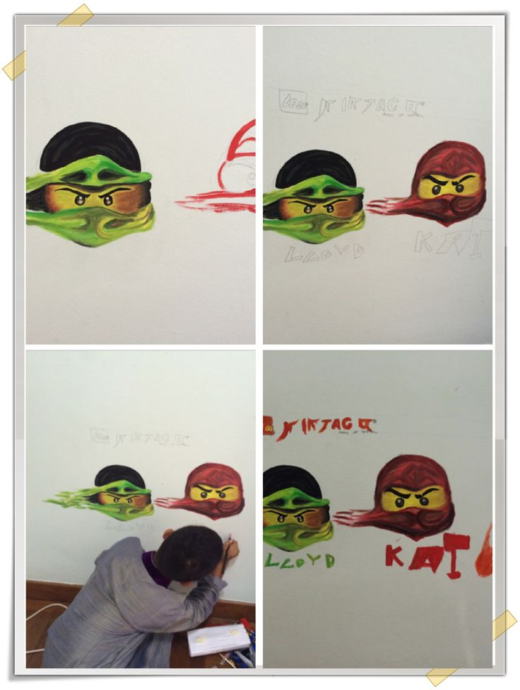 Lego ninjago inspired wall mural - step by step process of the murals