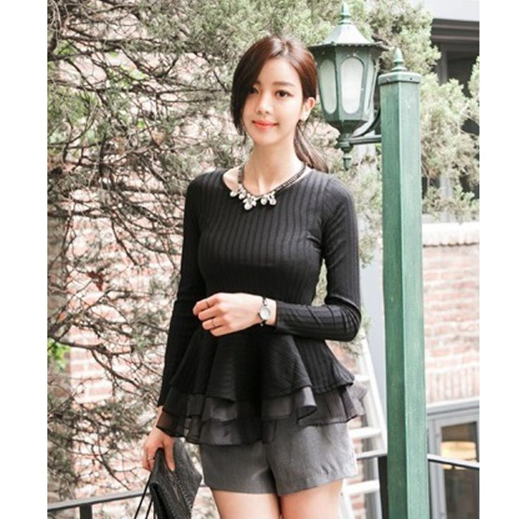 BL671 Black grey Blouse - https://www.afwindo.com/shop/bl671-black-grey-blouse/