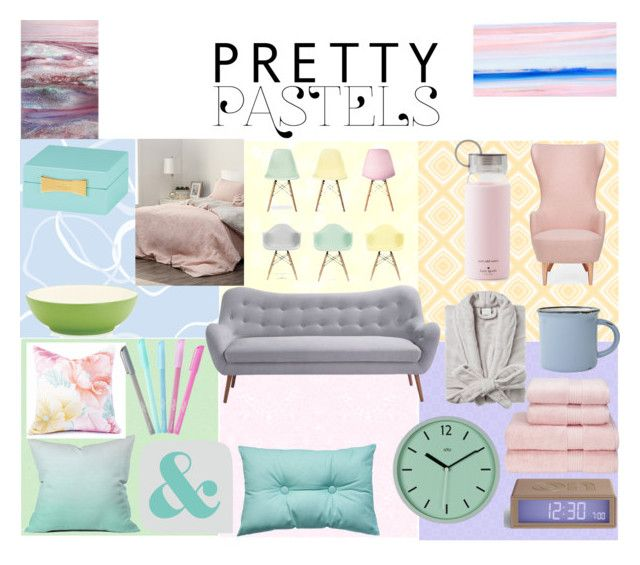"""Pretty Pastels"" by polyvorestar10 on Polyvore featuring interior, interiors, interior design, home, home decor, interior decorating, Tom Dixon, Kate Spade, Moe's Home Collection and canvas"